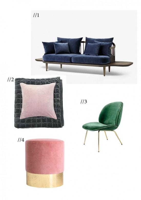 Velour sofa stol gubi &tradition