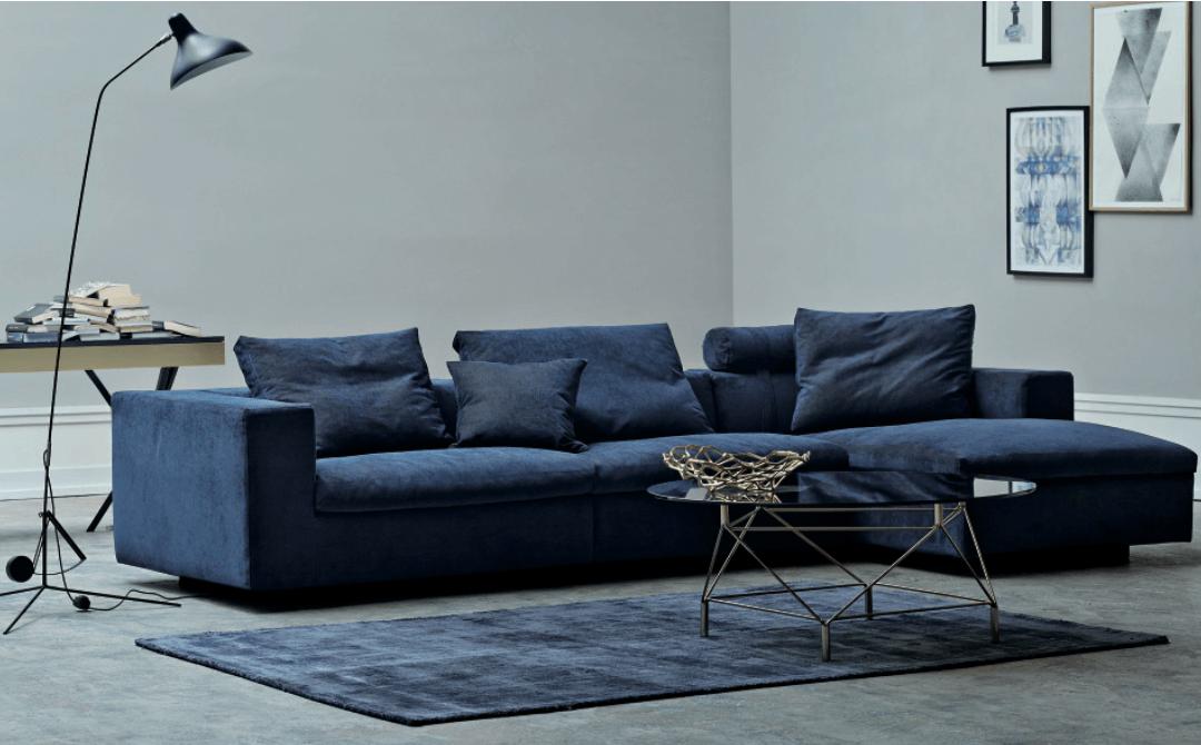 Blå sofadrømme i blød velour